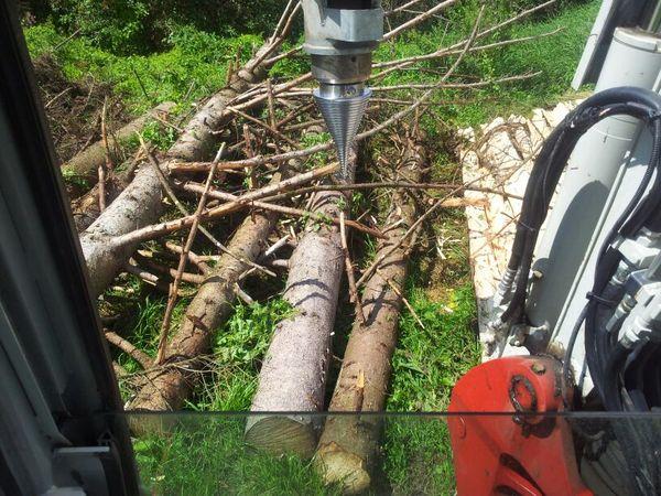 Holzspalten mit Kegelspalter